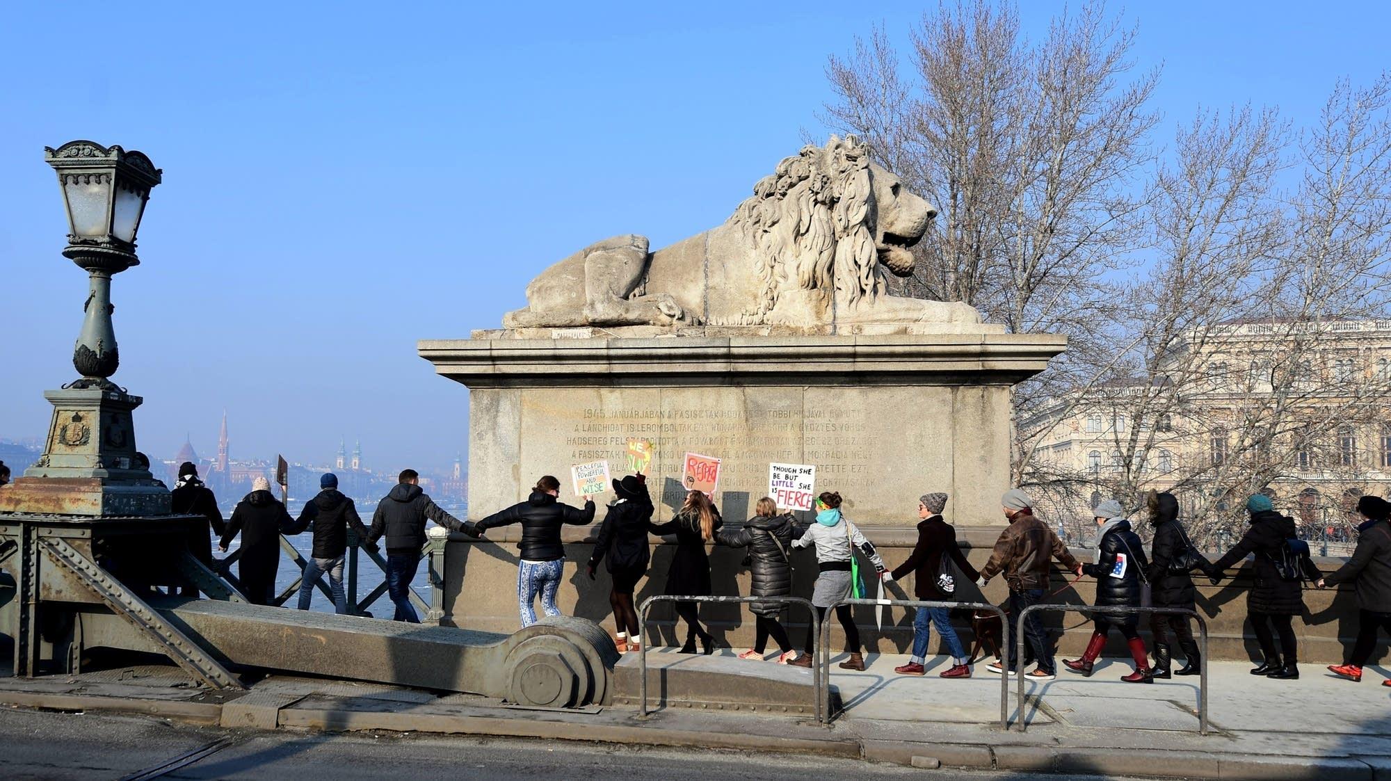 Budapest, Hungary: Participants create a human chain.