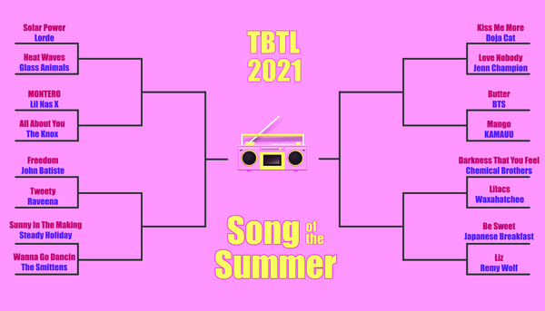 16 song bracket (yellow on pink) for Song of the Summer contest