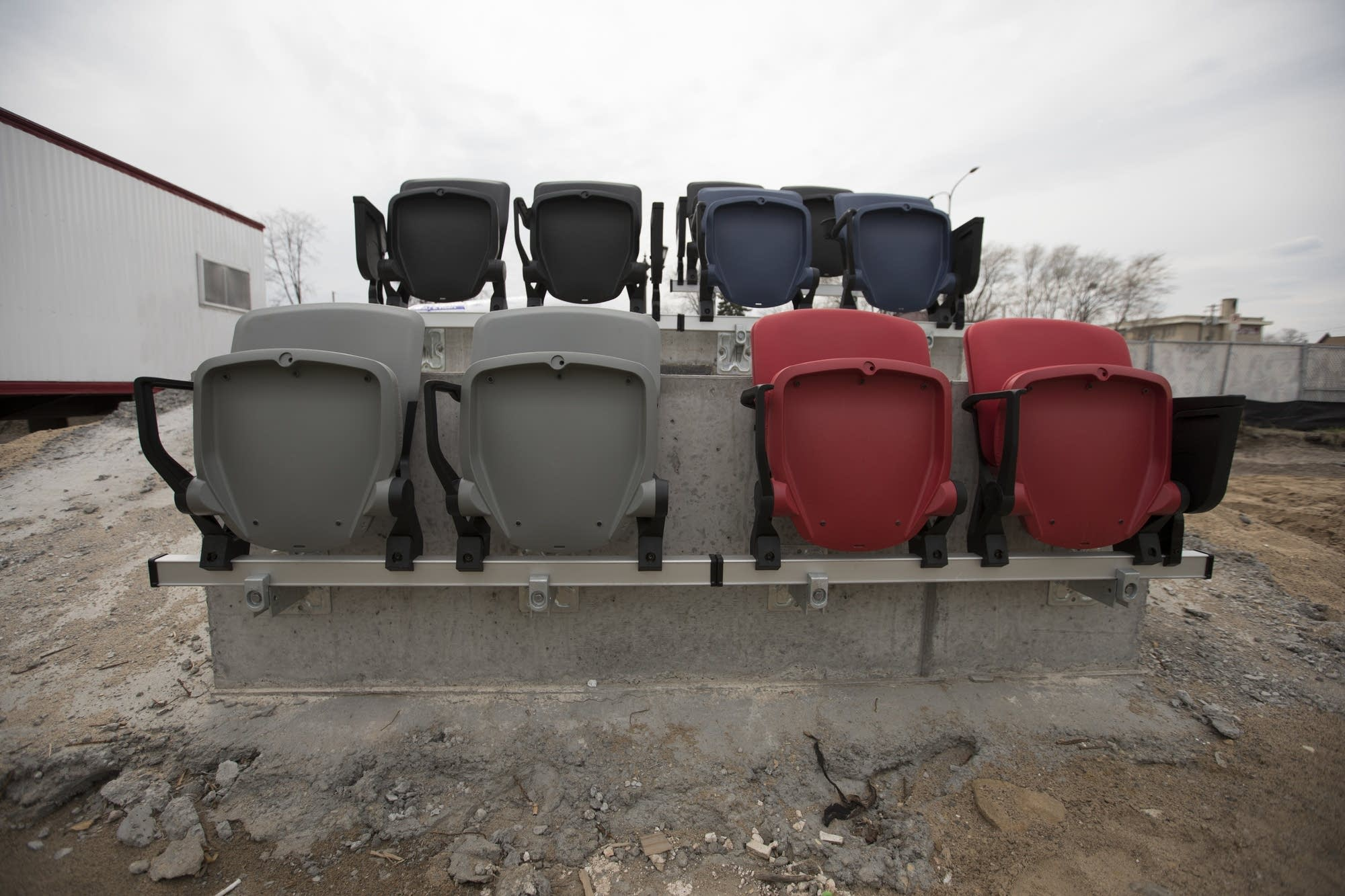 A view of what the seating will look like sits outside Allianz Field