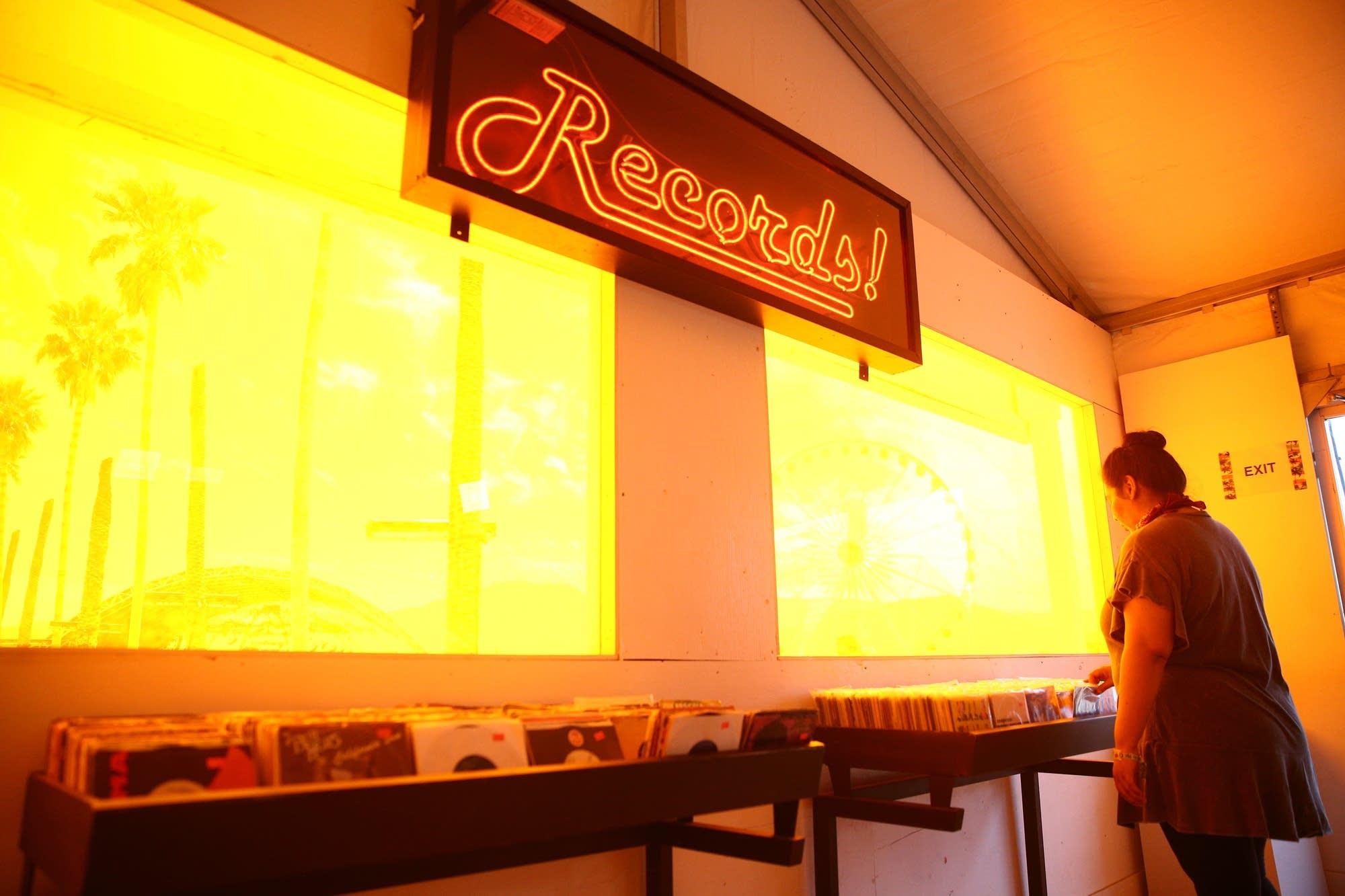 Record shopping at Coachella, 2018.