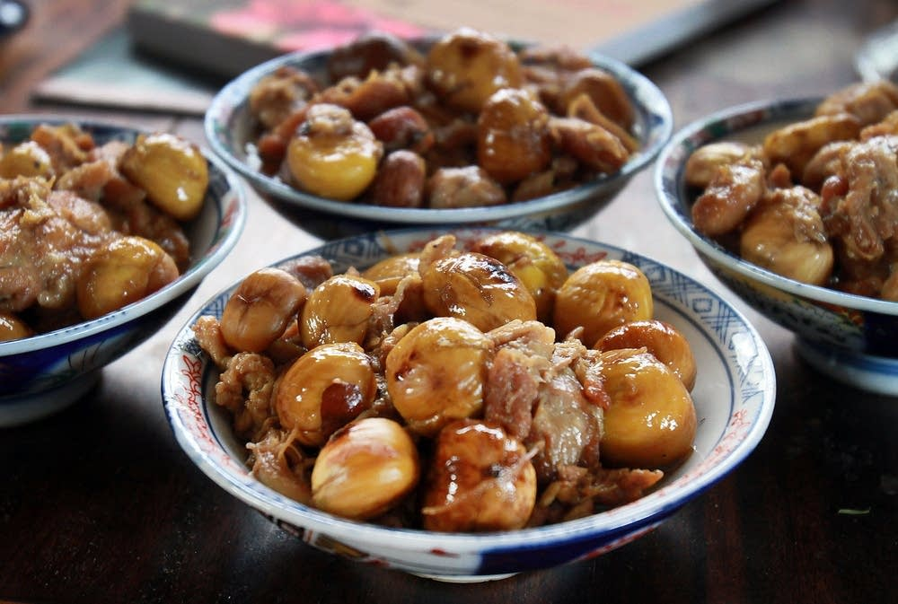 Chinese New Year braised chicken and chestnuts