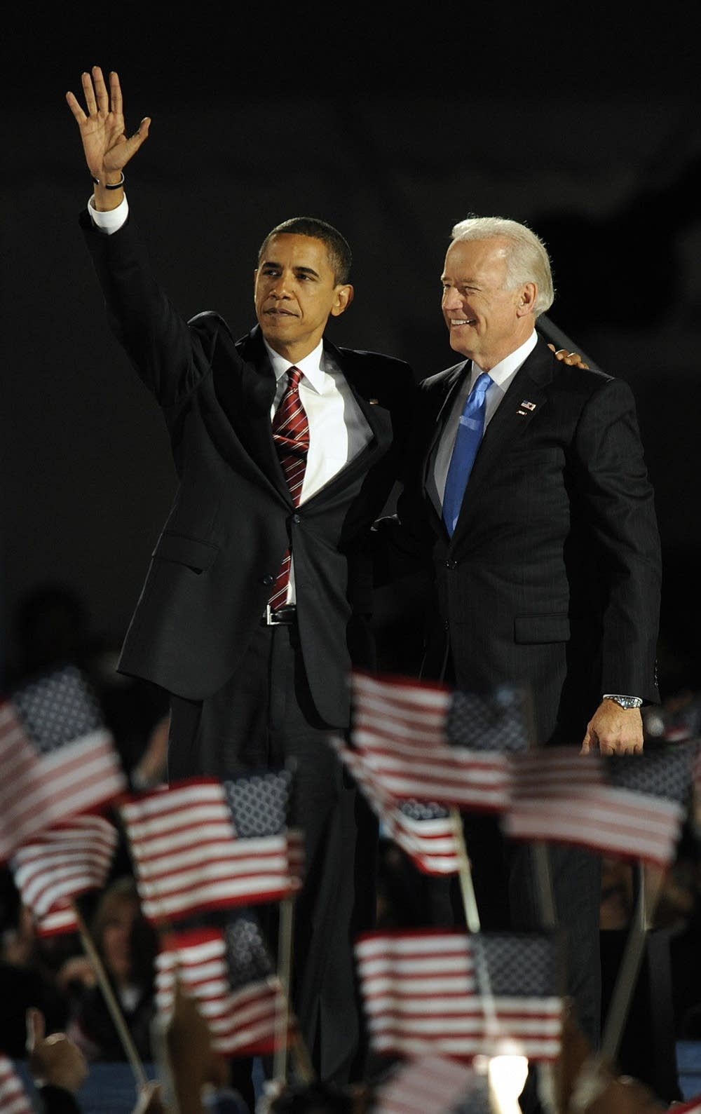 Obama and Biden celebrate their victory