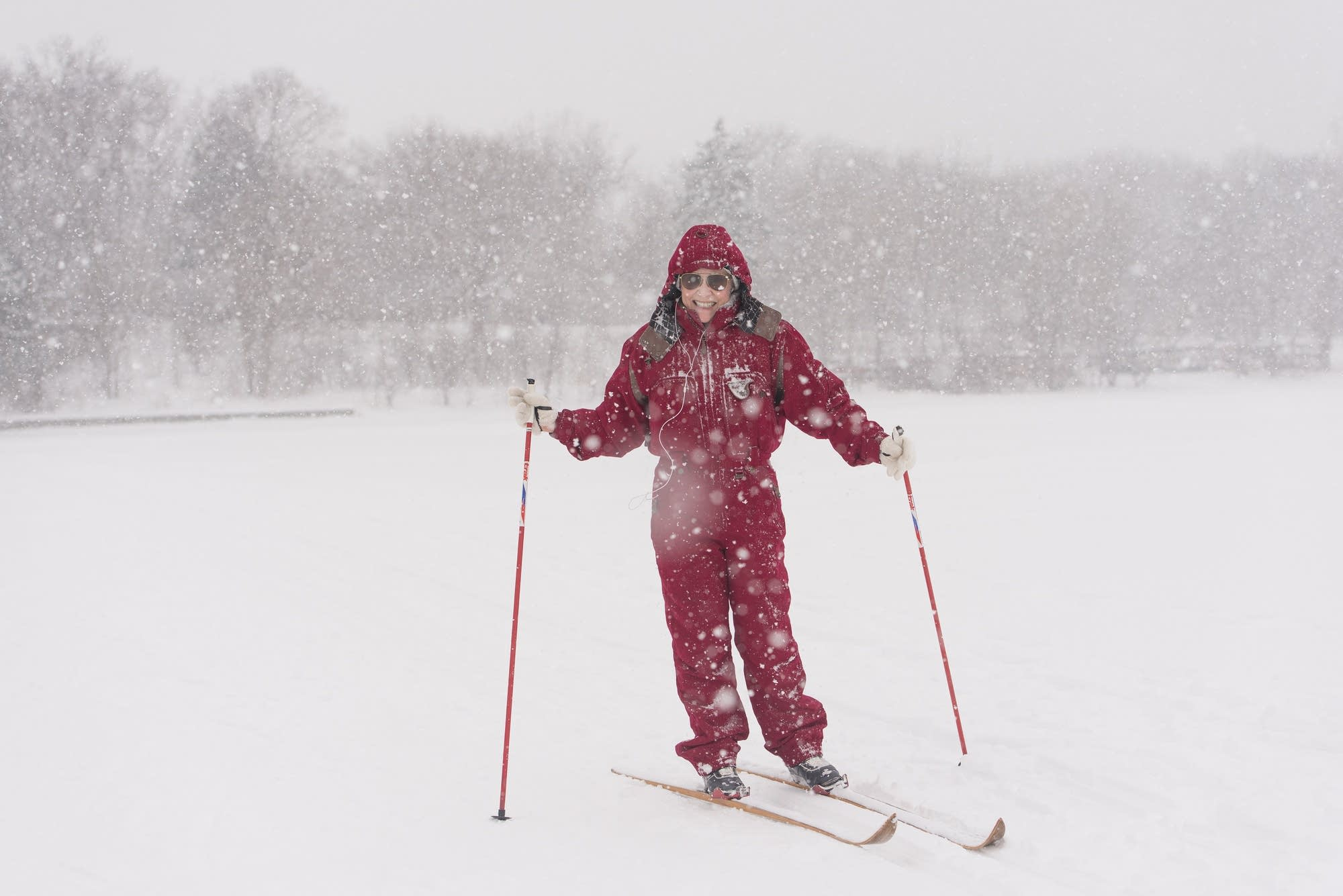 Heavy snow didn't stop Lesley Hauser from getting out on her skis.