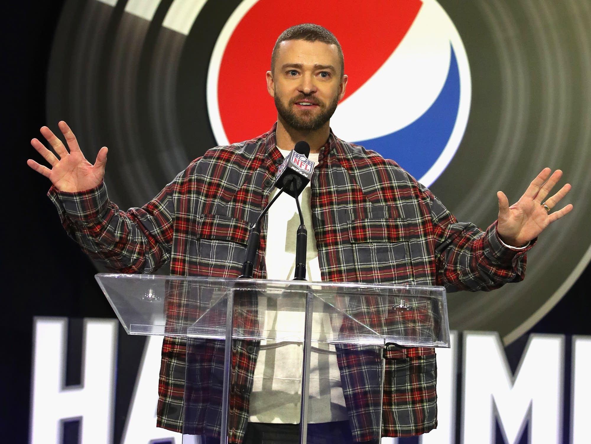 Justin Timberlake at a Minneapolis press conference, Feb. 1, 2017.