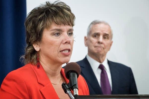 Judge Anne McKeig speaks at a news conference.