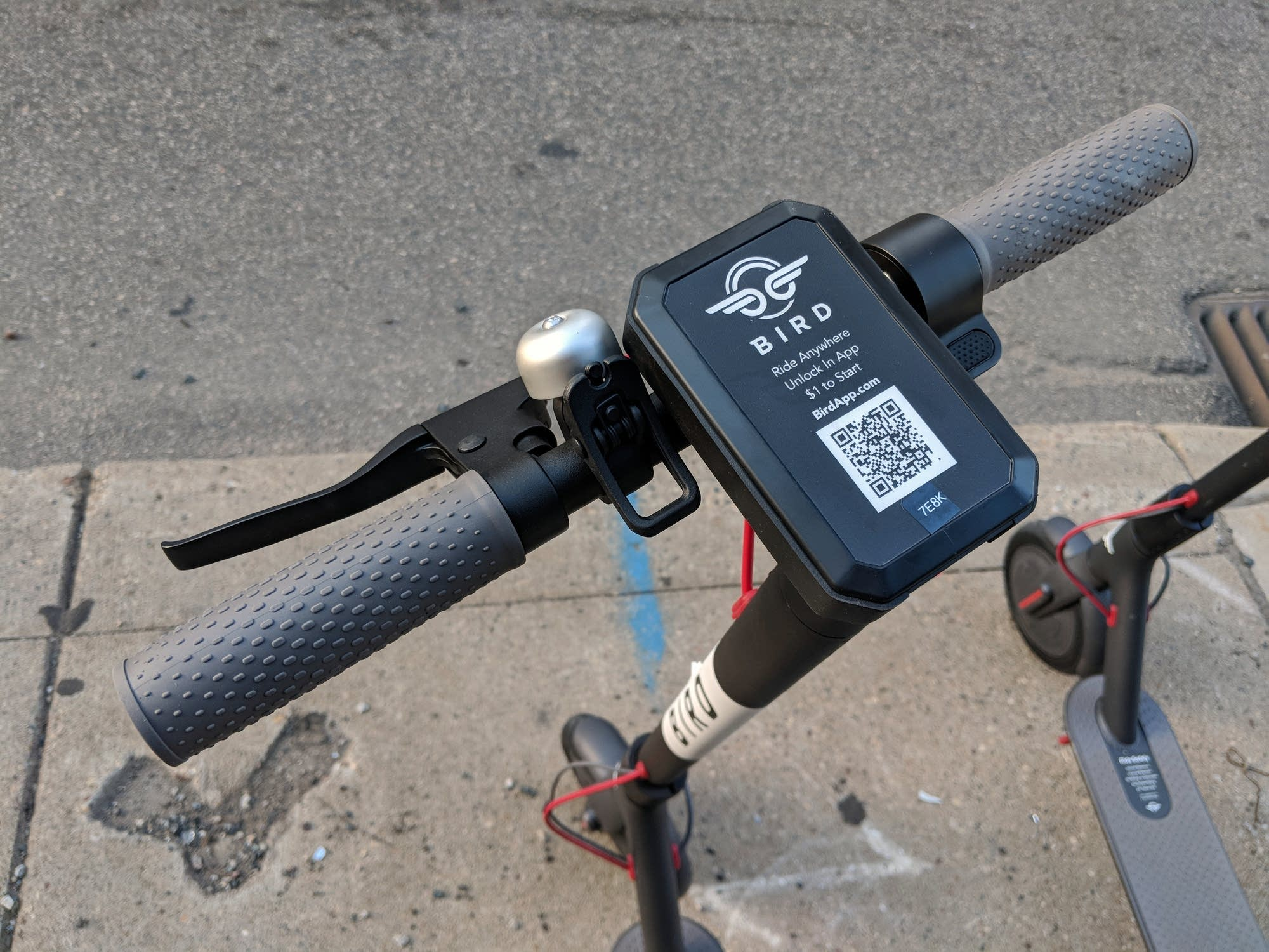 The ID code on a Bird scooter's handlecars.