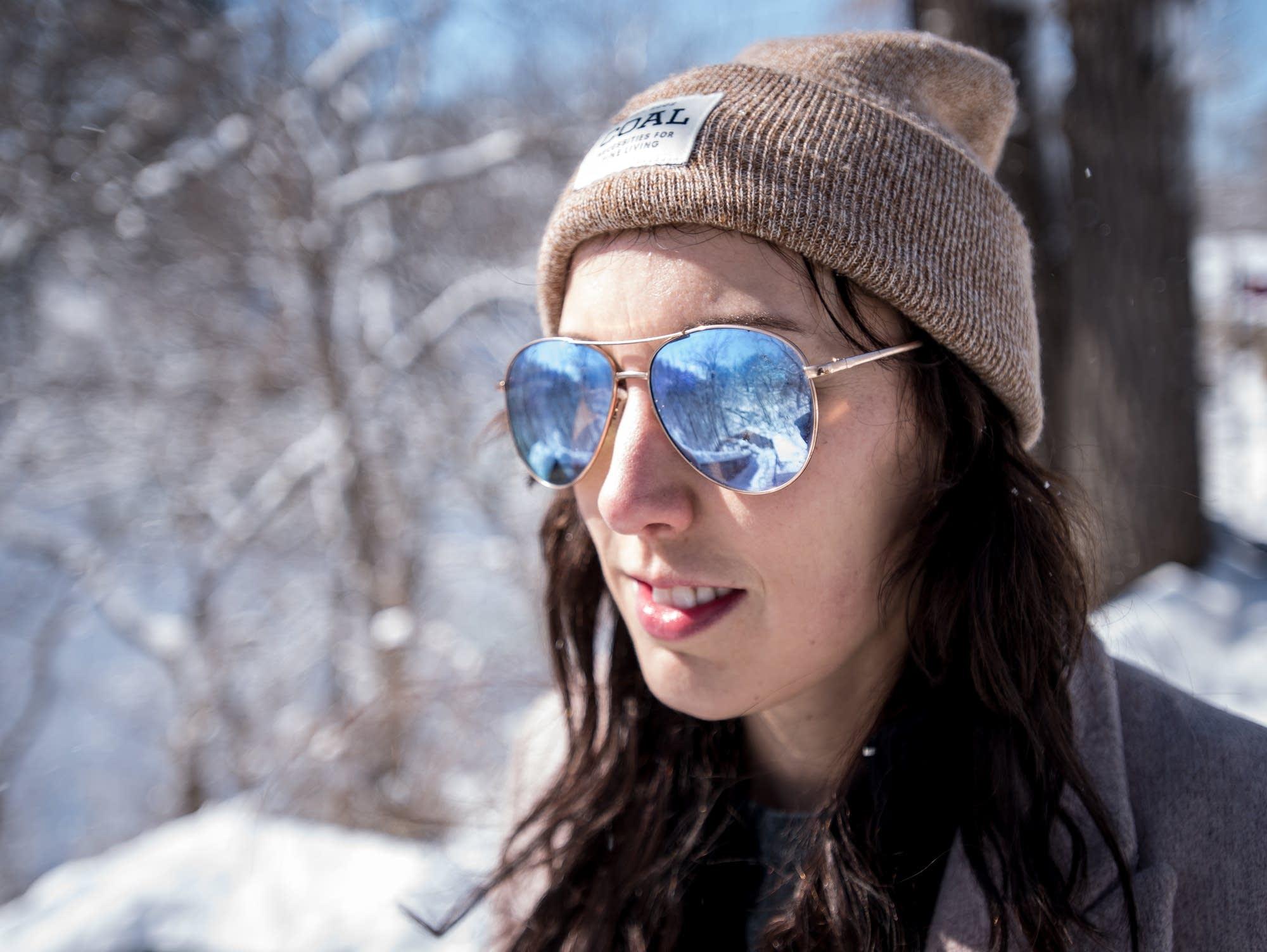 Desiree Ochs, 31, of St. Paul, visits Minnehaha Falls