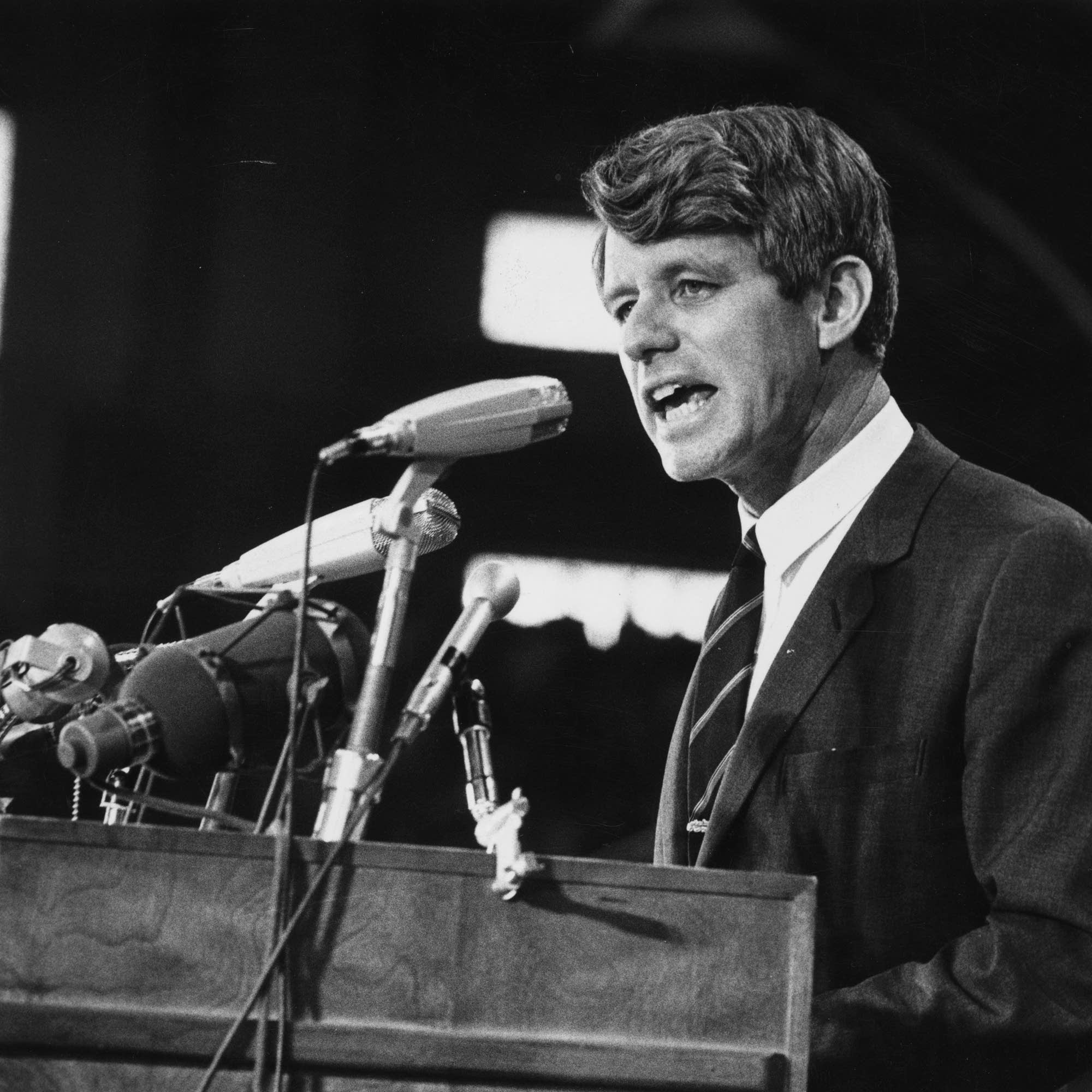 Robert F. Kennedy speaking at an election rally.