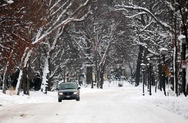Snow-packed roads in St. Paul