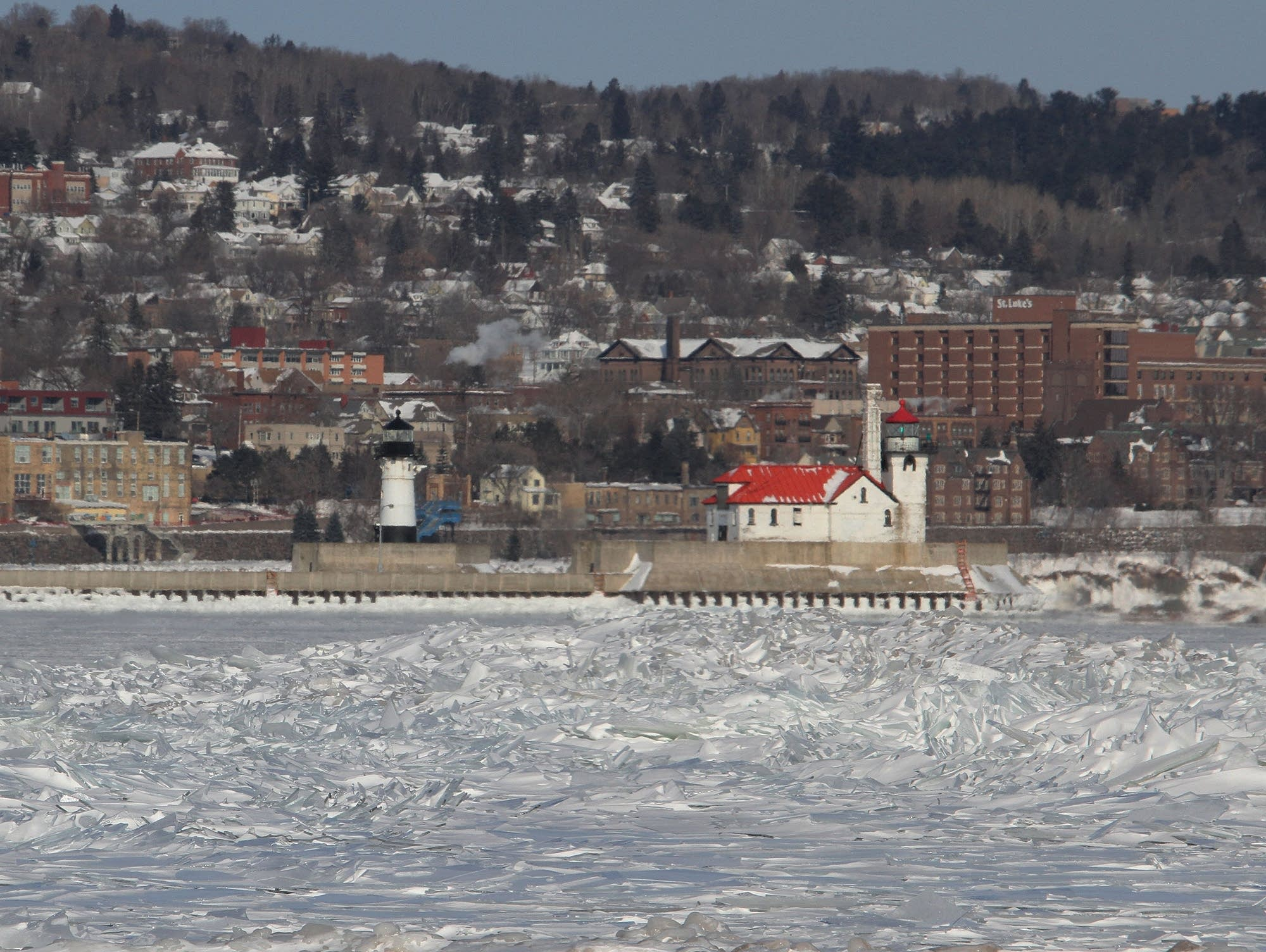 The Duluth North Pier (left) and South Breakwater lighthouses