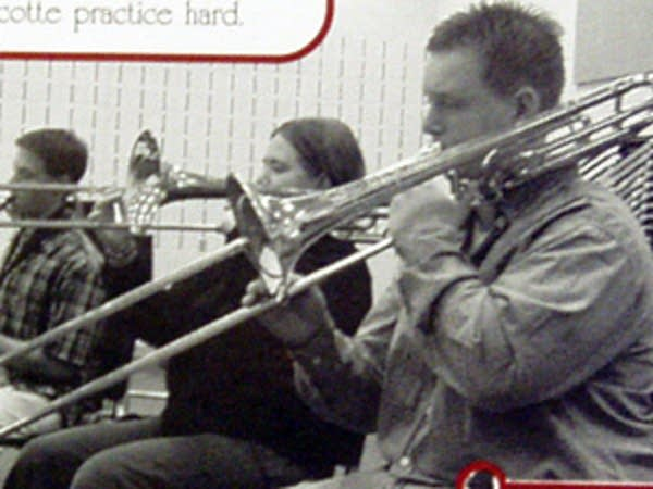 Turcotte in the band in high school