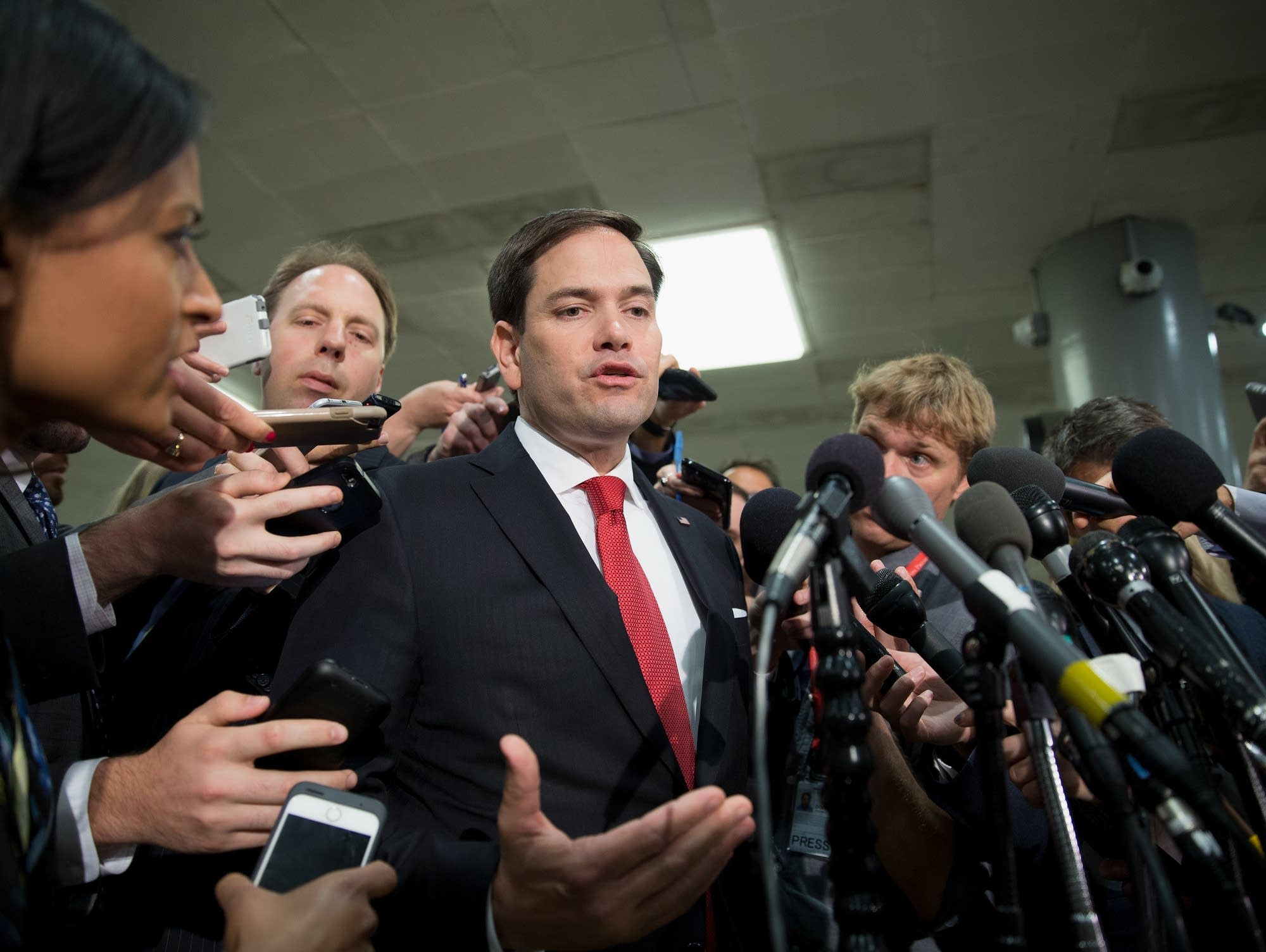 Sen. Marco Rubio speaks to the media on Capitol Hill