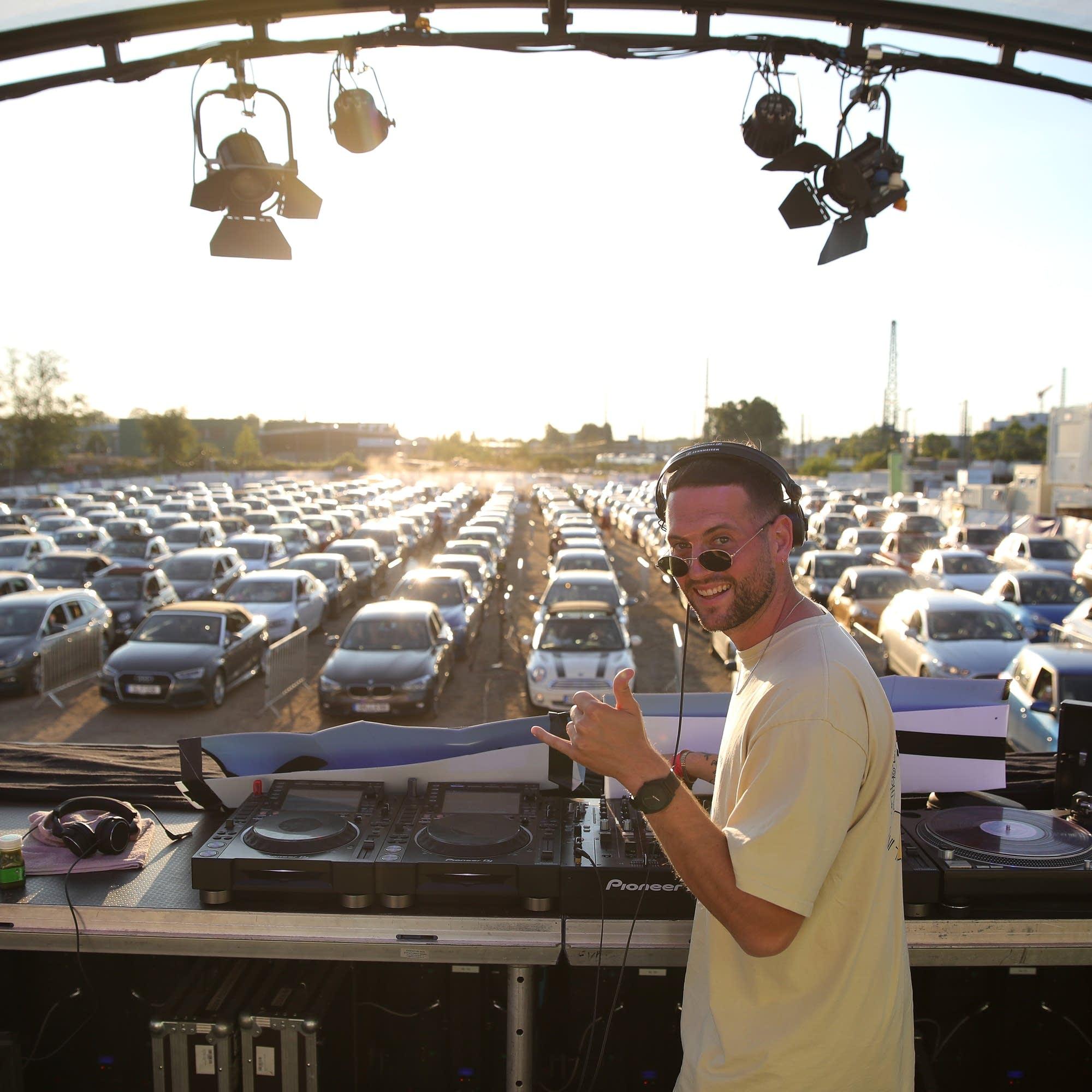 DJ Mogli plays a drive-in concert in Bonn, Germany.