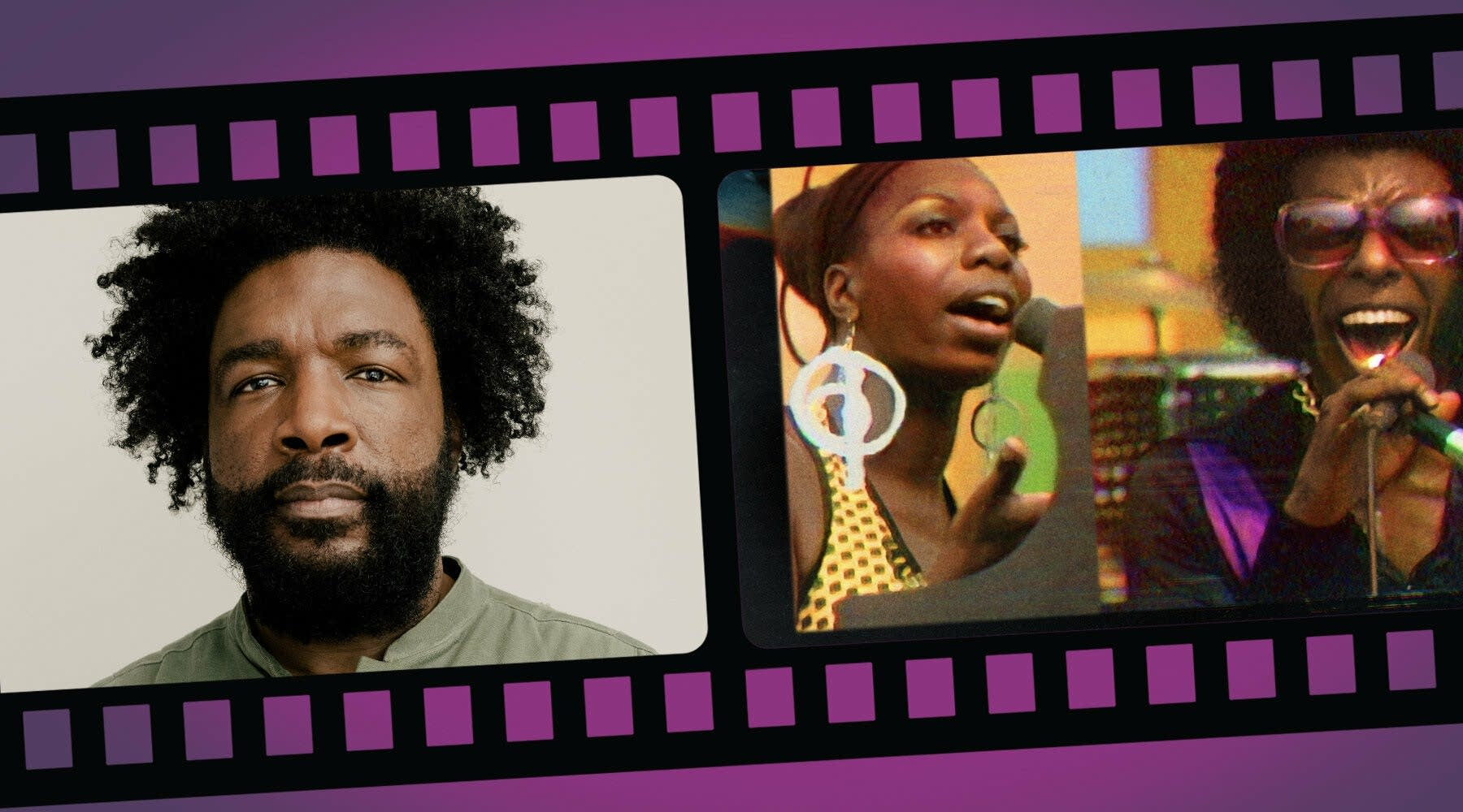 Questlove with a still frame from 'Summer of Soul'