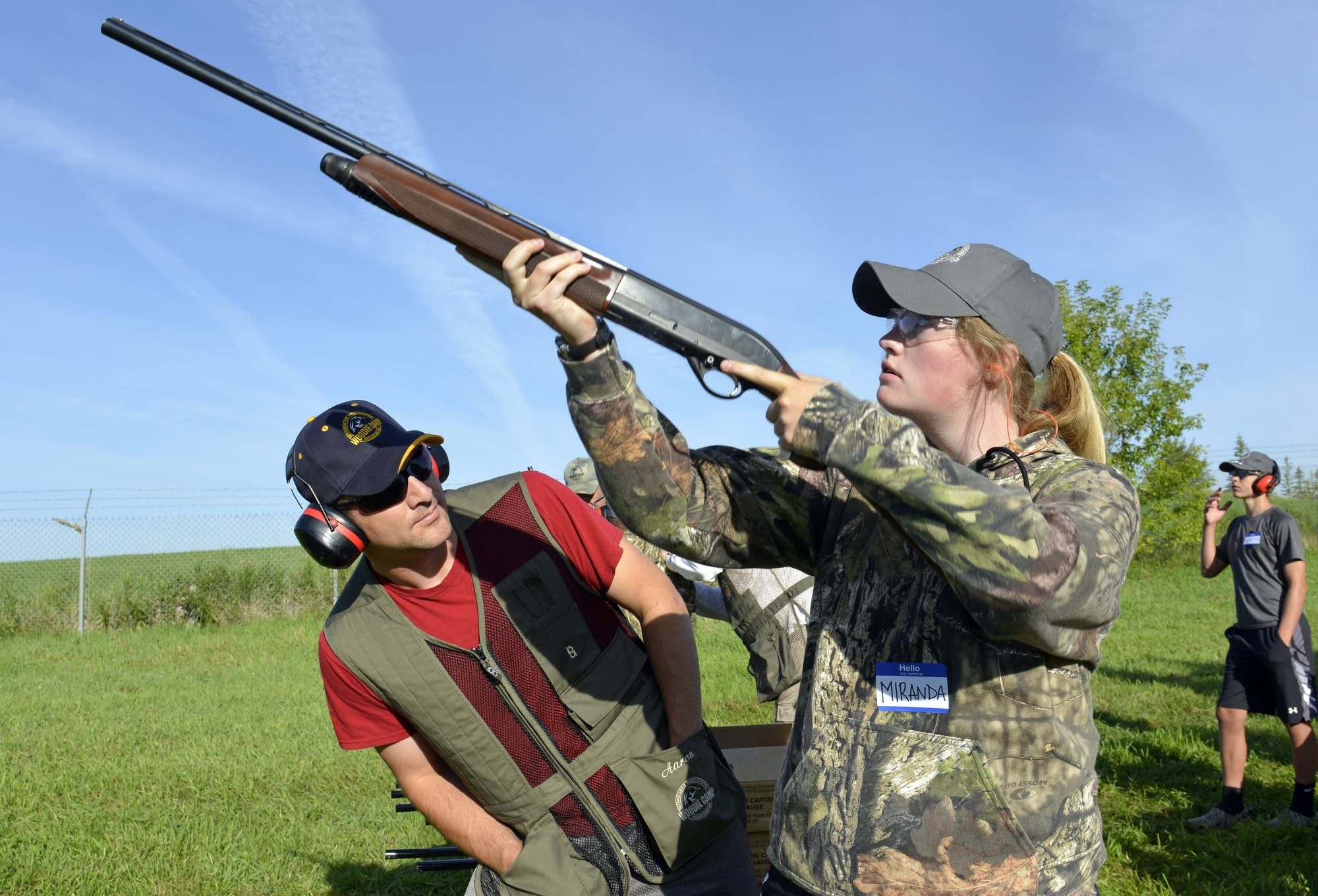 Instructor Aaron Weinandt coaches Miranda Danielson of Alexandria.