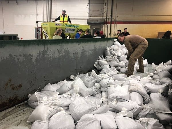Sandbagging operations are in full swing in Moorhead