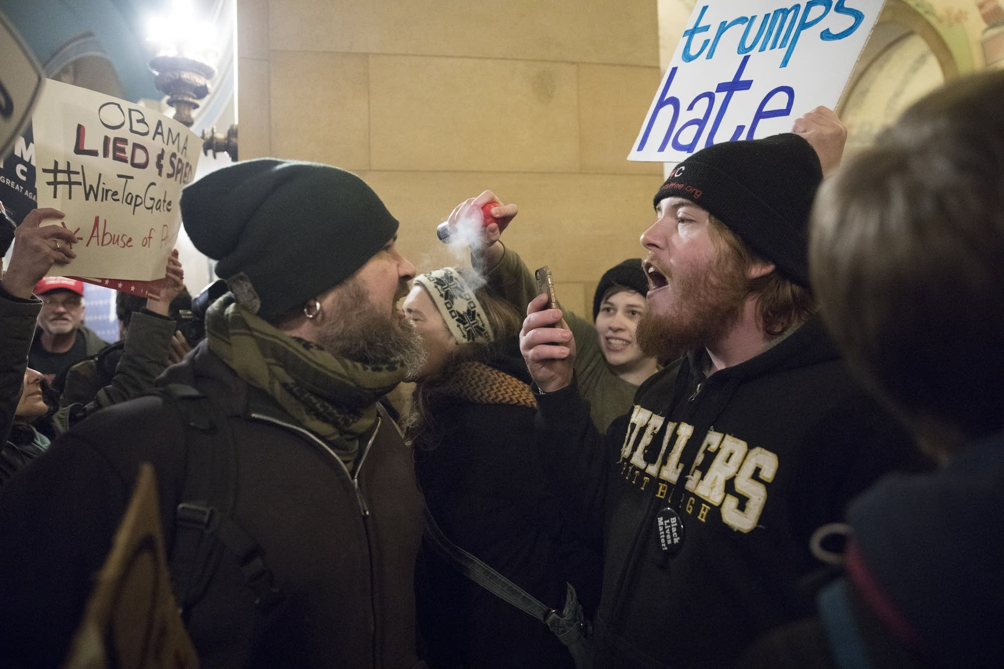 Counter-protesters blew air horns in the face of Trump supporters.