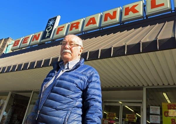 John Lutz outside his Bemidji Ben Franklin store.