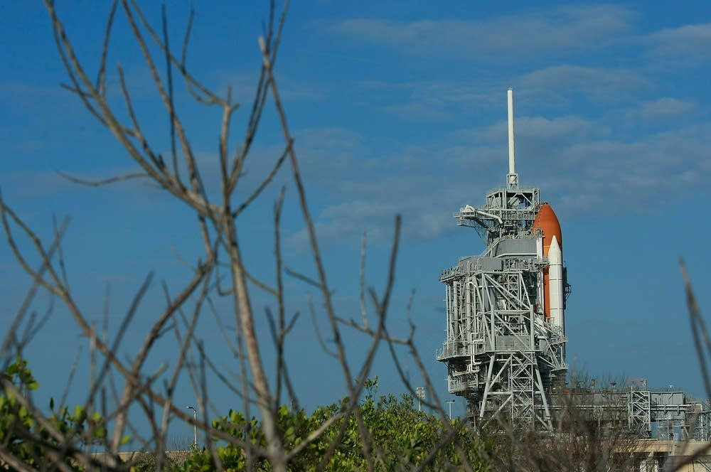 Space Shuttle Endeavour sits on the launch pad