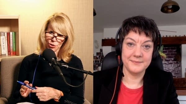 Two women talk during a video voice chat.