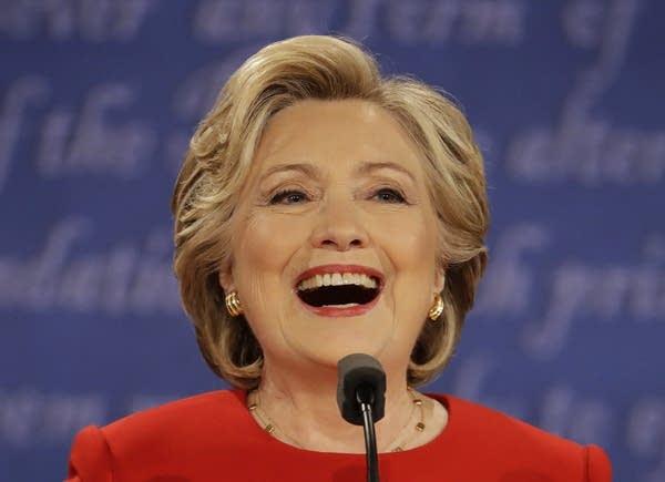 Clinton laughs during presidential debate