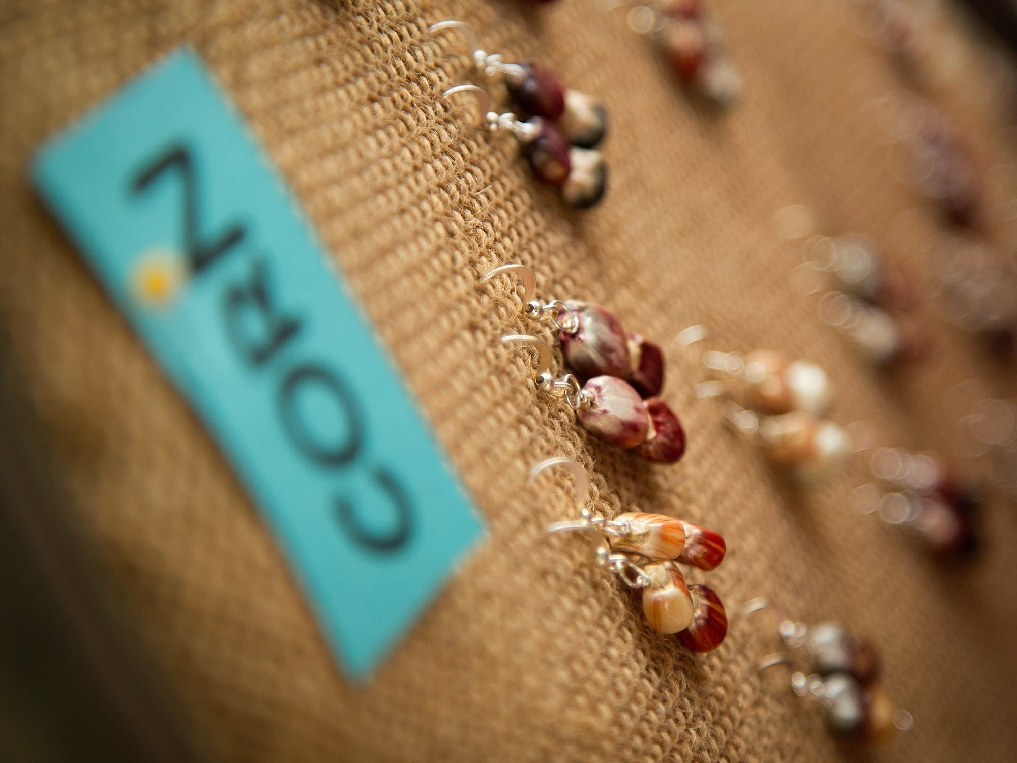 Jewelry made of corn kernels was on display.