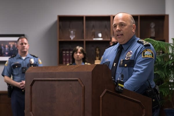 St. Paul Police Chief Todd Axtell speaks to the press.