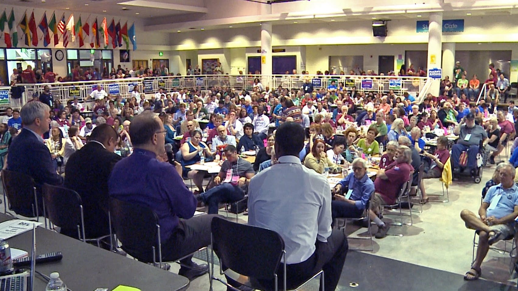 Mayoral candidates address DFL delegates in St. Paul.