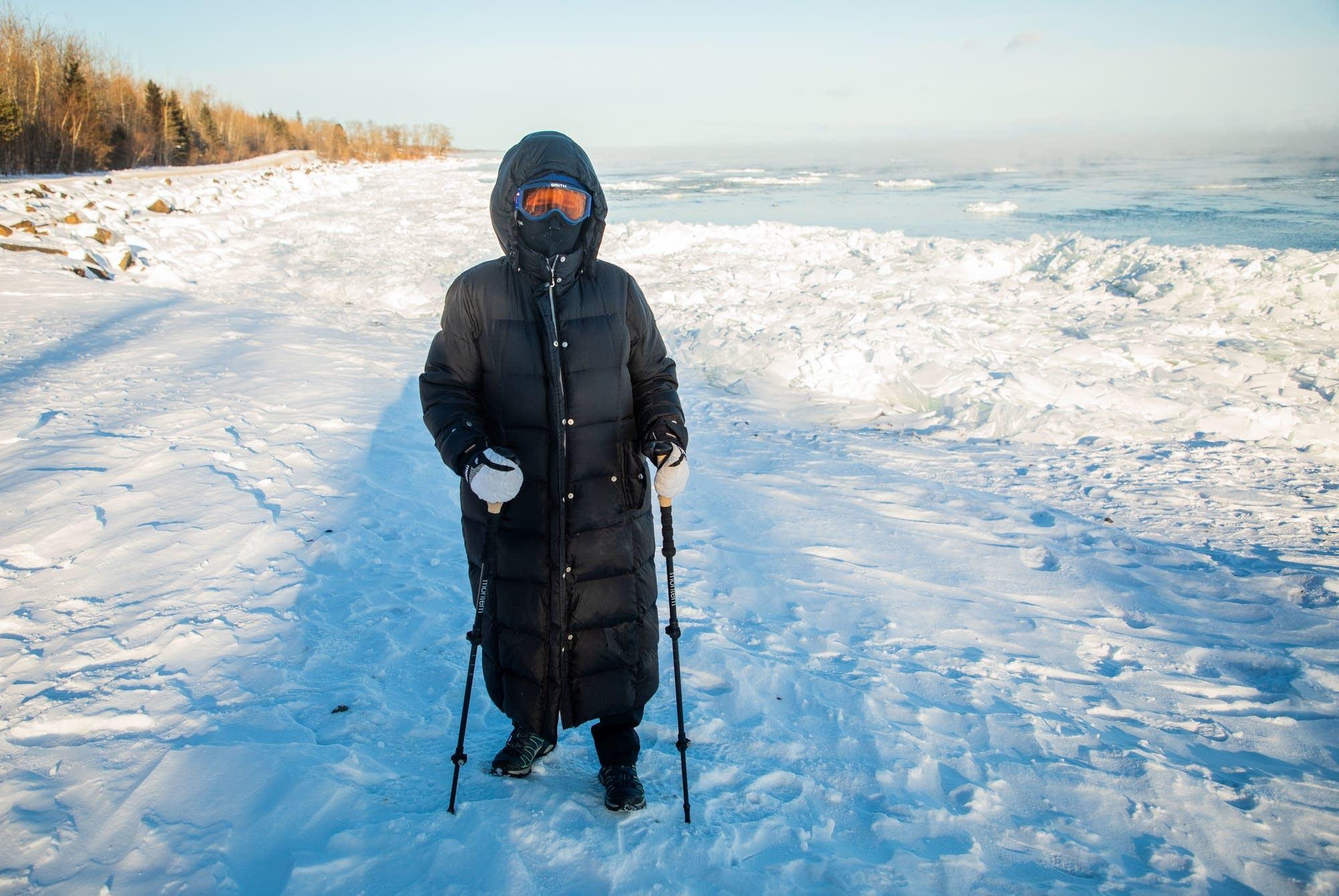 Mary Bridget Lawson walks along the shores of Lake Superior.