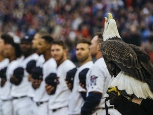 An eagle cries during the National Anthem.