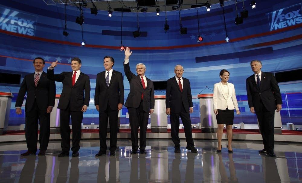 Rick Santorum, Mitt Romney, Newt Gingrich, Ron Pau