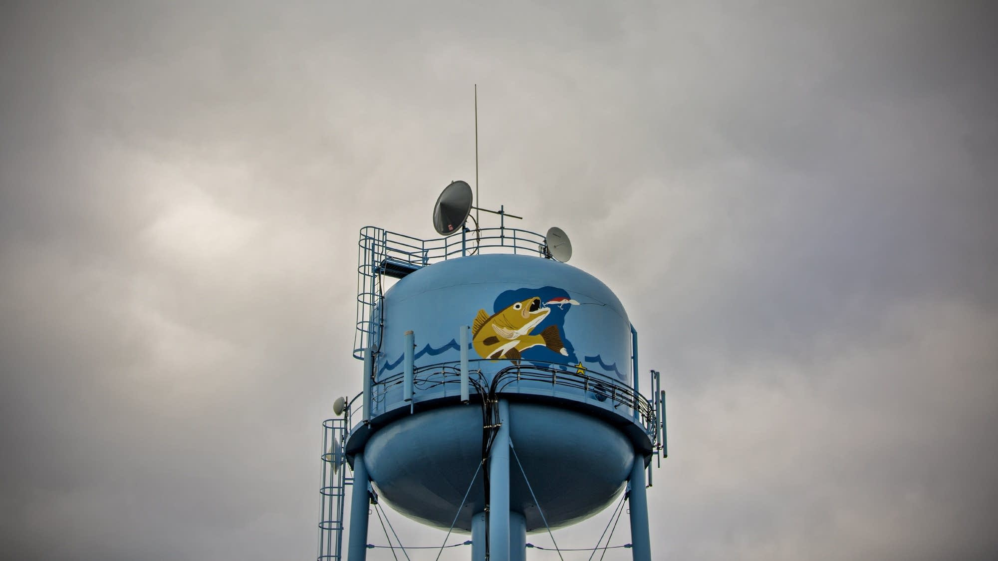 Walleye on the water tower in Isle.