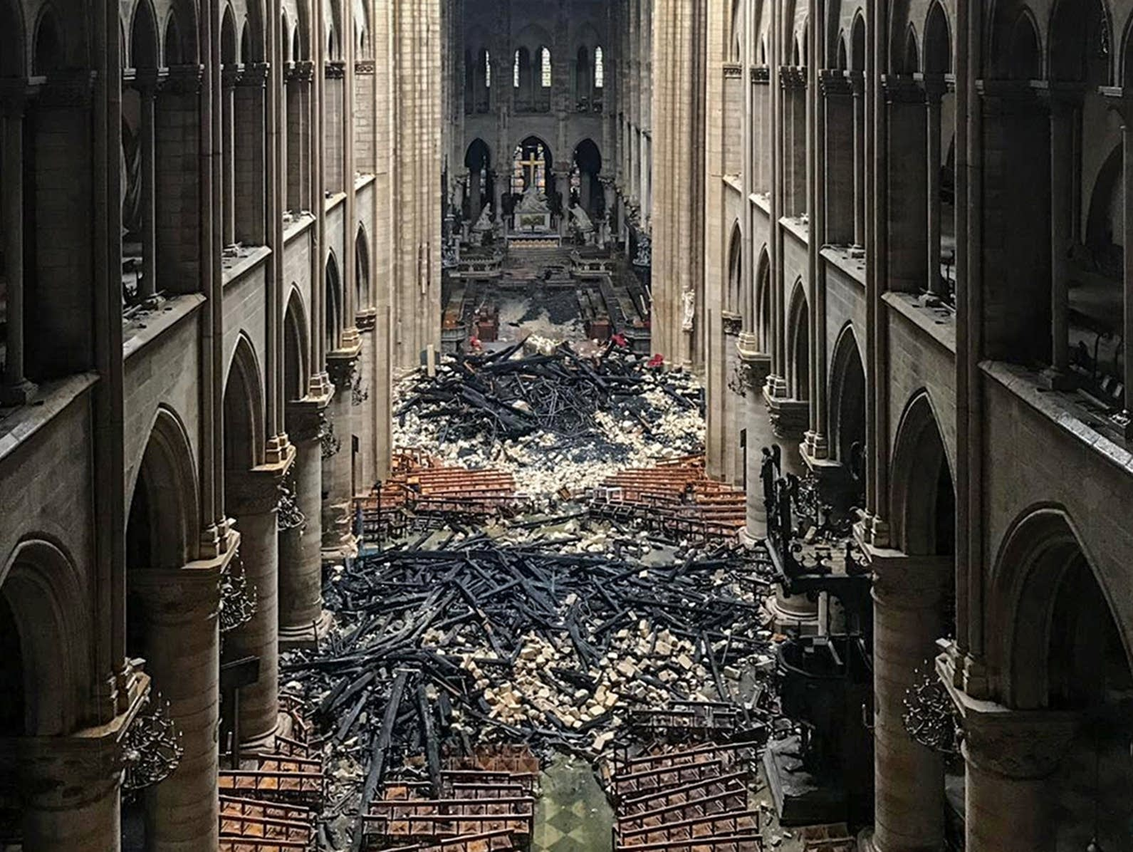 An interior view of the Notre Dame in Paris in the aftermath of a fire.