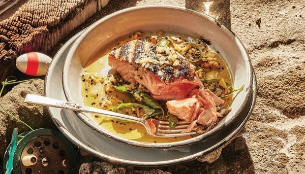 Recipe: Grilled Crispy-Skinned Salmon with Whole Lemon-Sesame Sauce