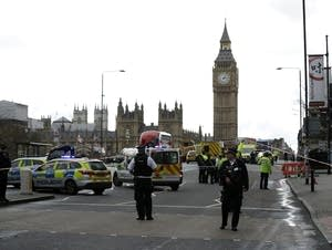 Police secure the area on the south side of Westminster Bridge
