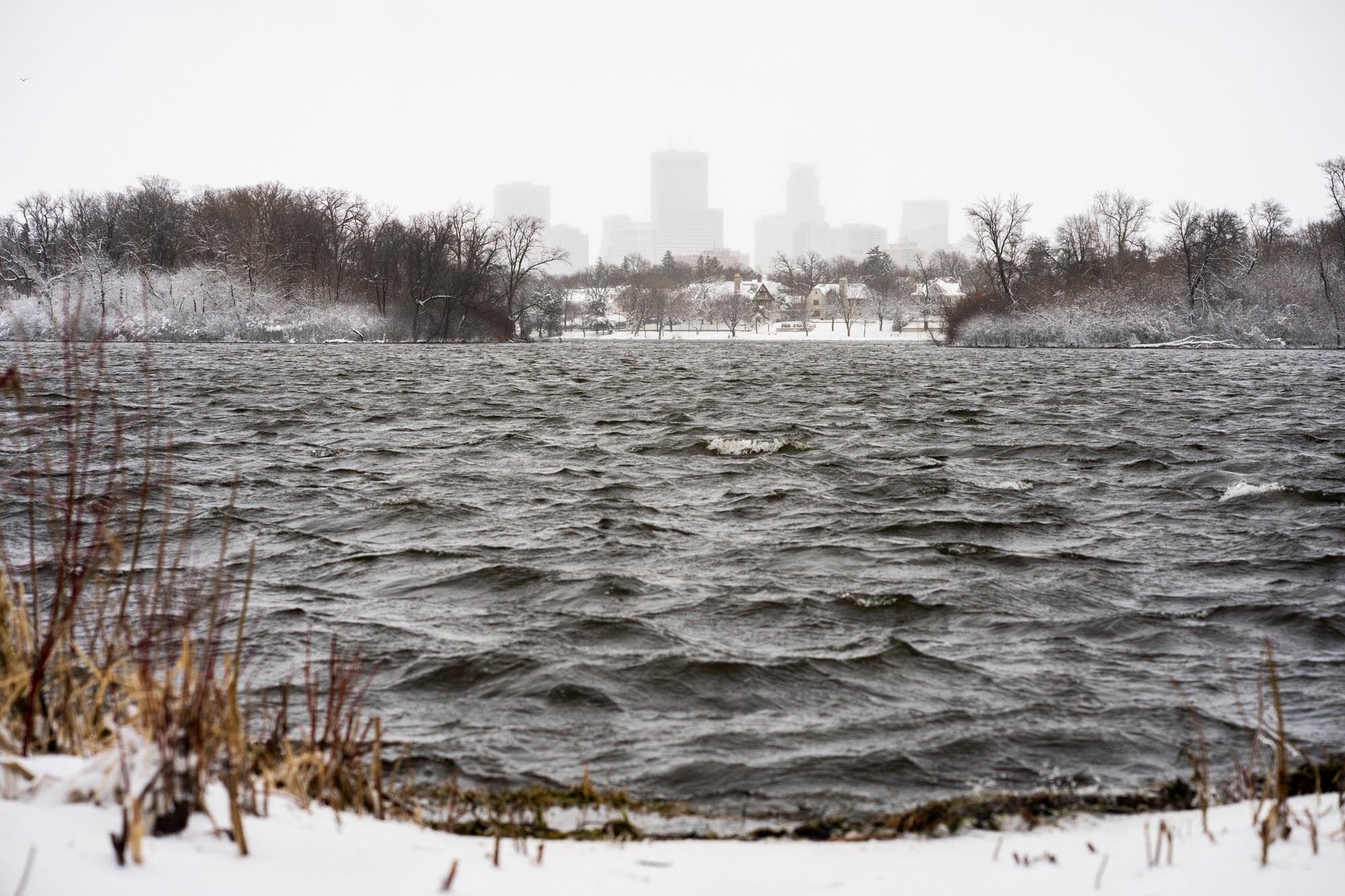 Waves churn on Lake of the Isles in Minneapolis.