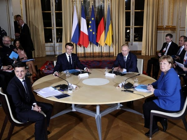 Macron, Putin, Merkel and Zelenskiy.