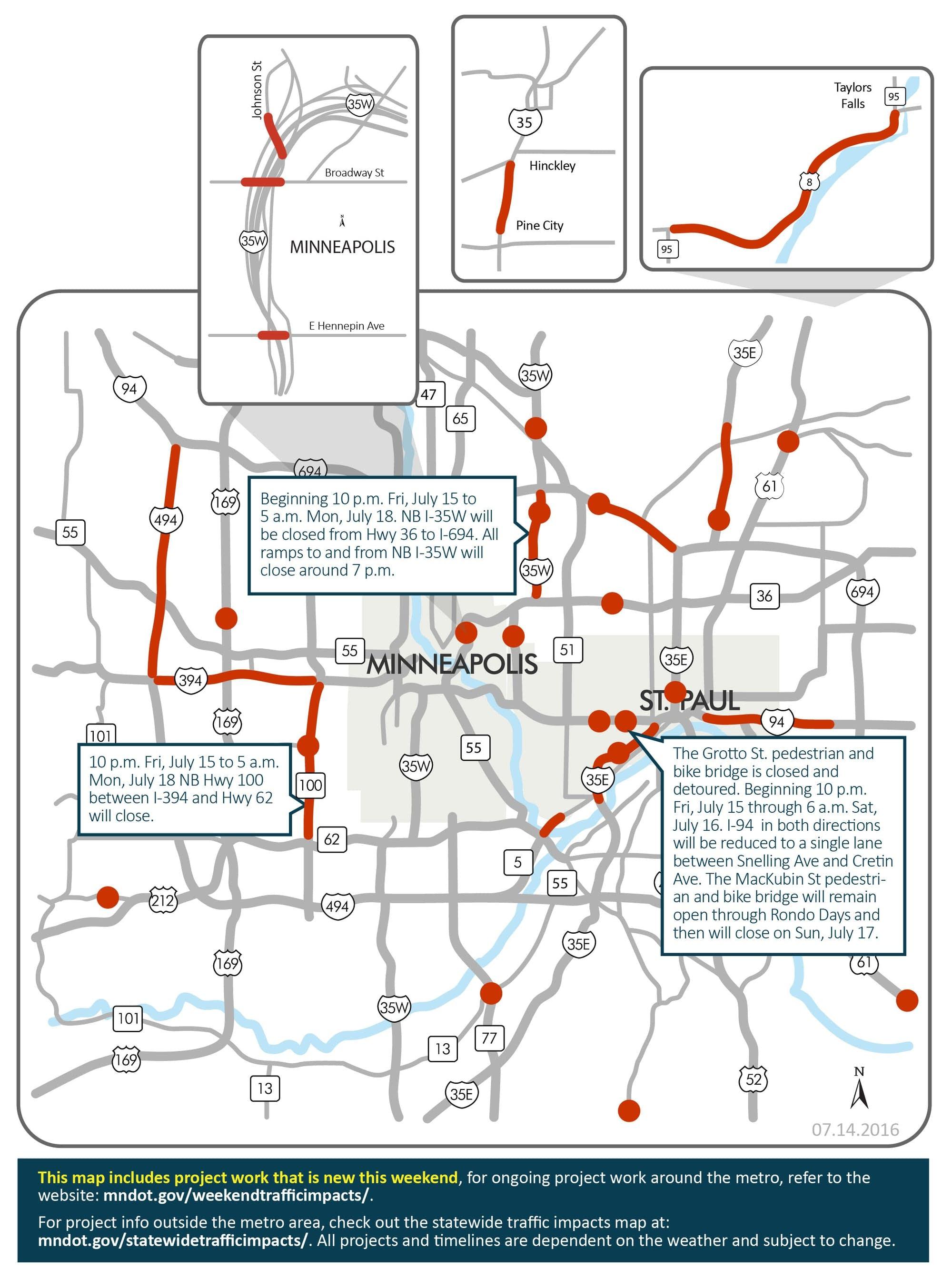 Highway 100 north, I-35W closures top weekend road woes
