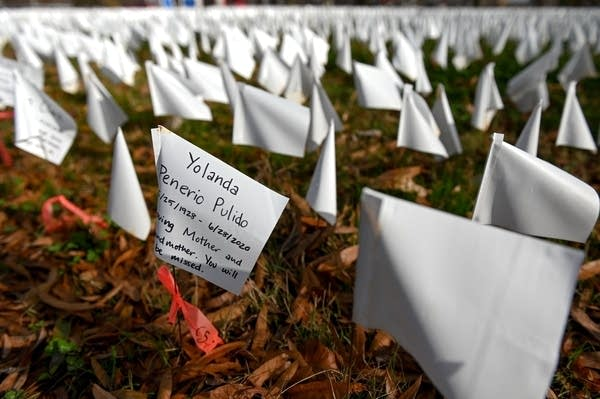 White flags in the ground.