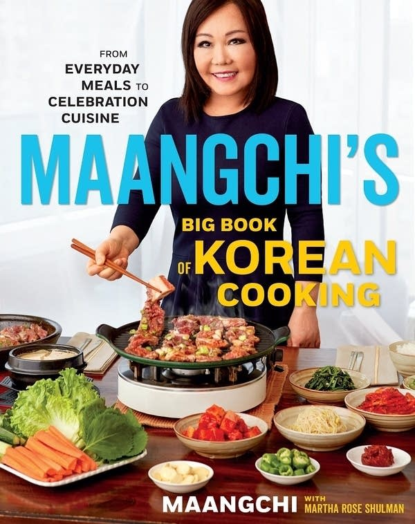 Book Cover with Maangchi at a tabletop grill