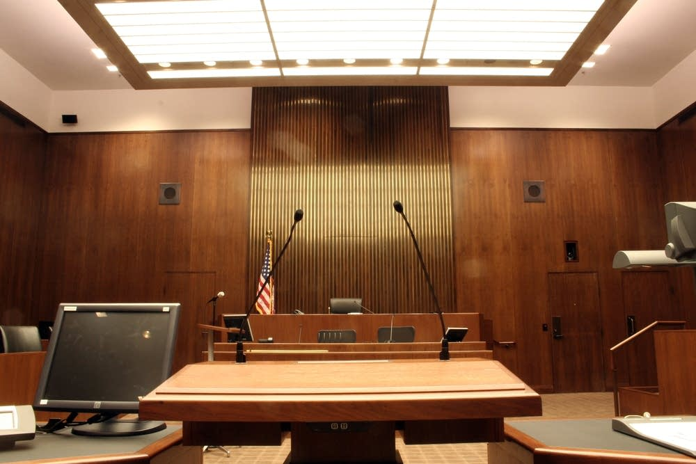 A view from the bar in the remodeled courtroom