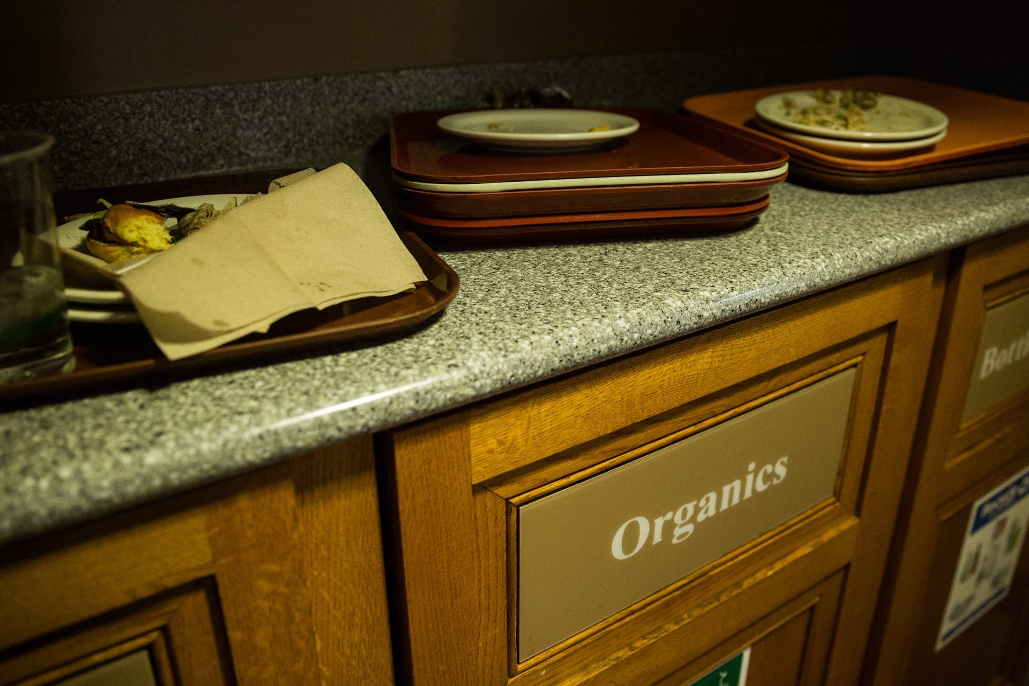 Organic bins inside the Rathskeller Cafe.