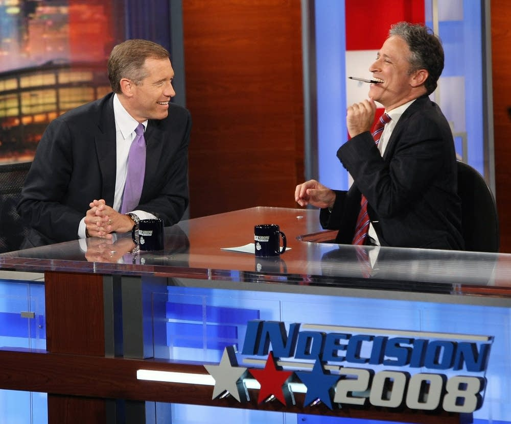 Jon Stewart and news anchor Brian Williams