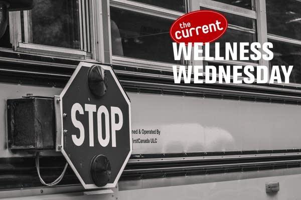School bus exterior with Wellness Wednesday logo overlaid.