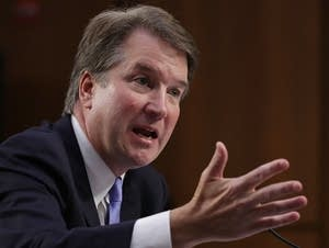 Brett Kavanaugh testifies during his Supreme Court confirmation hearings.
