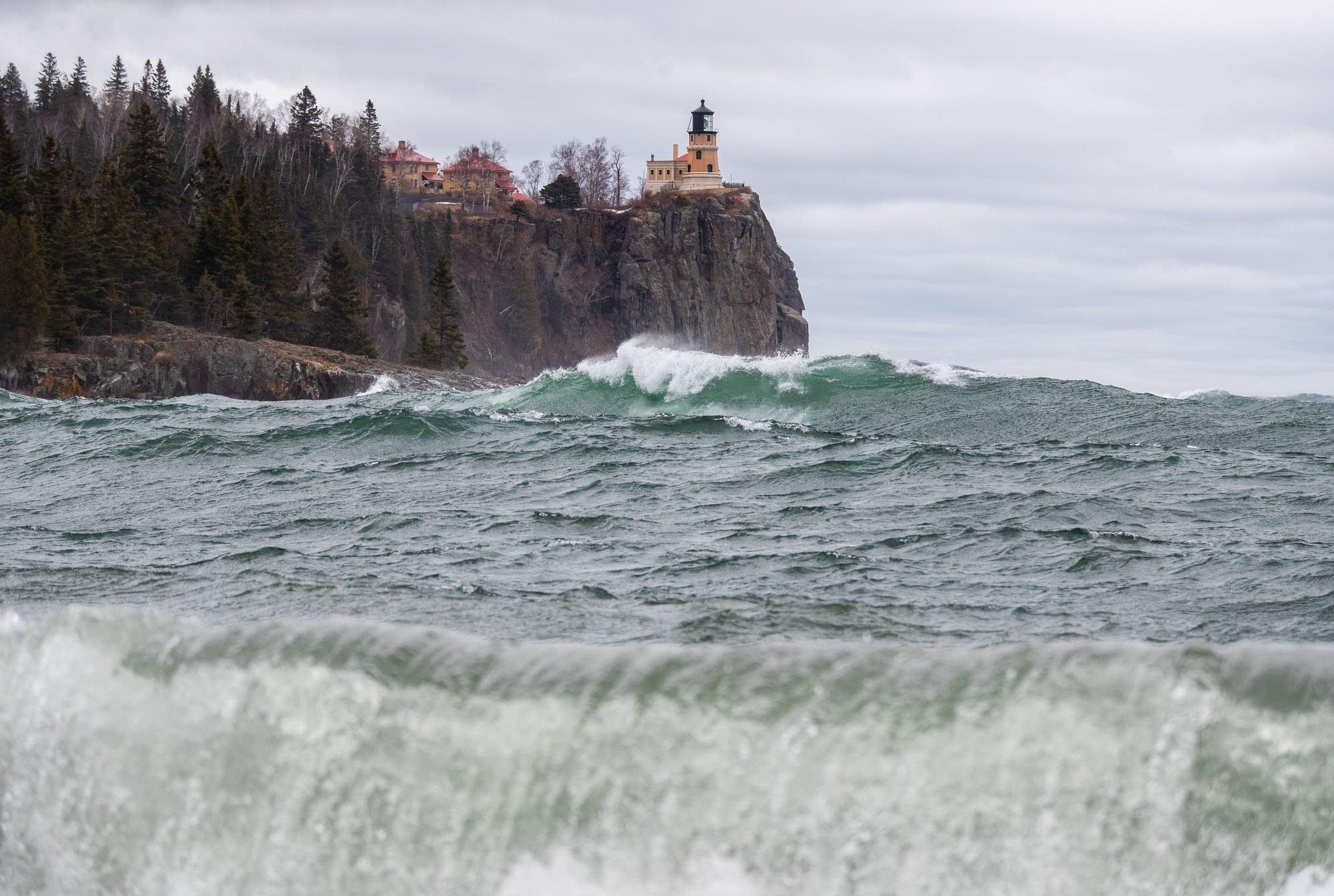 Wind and waves lash the shoreline of Split Rock State Park April 11, 2019