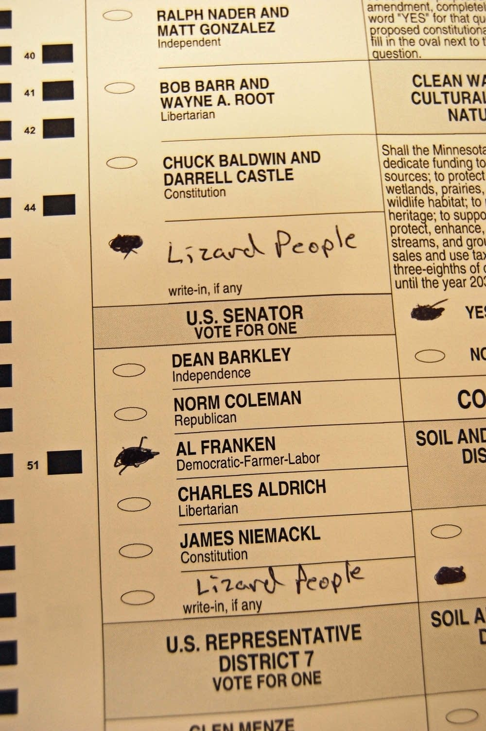 A challeneged ballot with a write-in