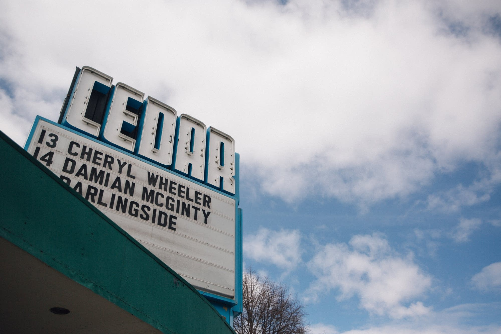 The Cedar Cultural Center's marquee advertises upcoming acts.