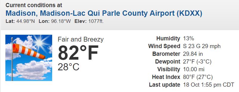 Weather conditions at Madison Minnesota Monday