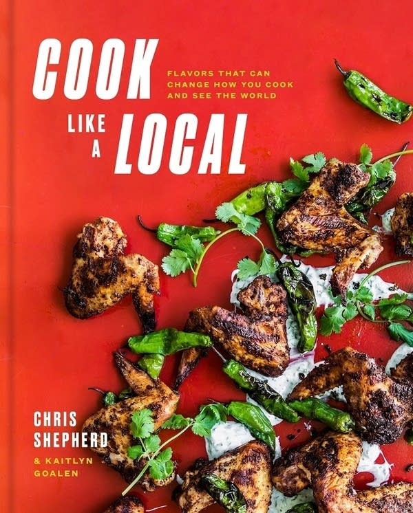 book cover with grilled chicken wings with peppers and cilantro